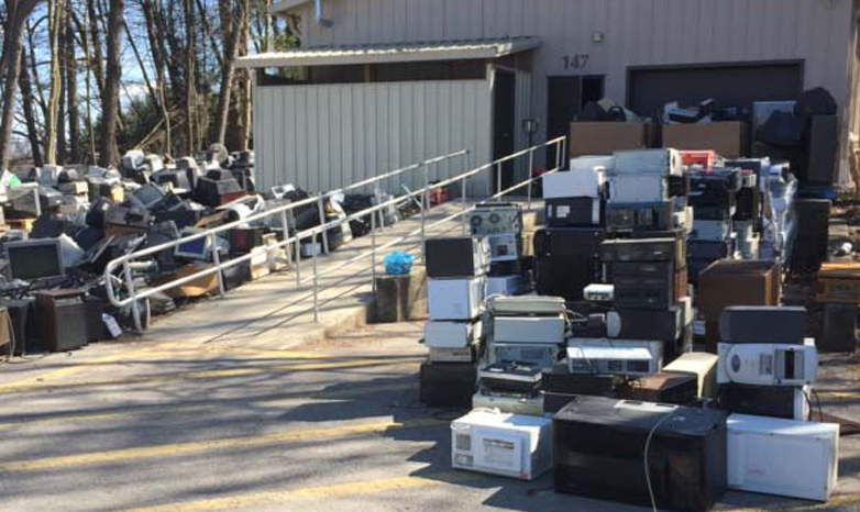 e-waste materials being dropped off