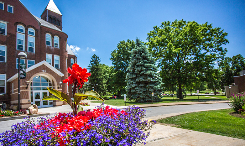 old main and flowers