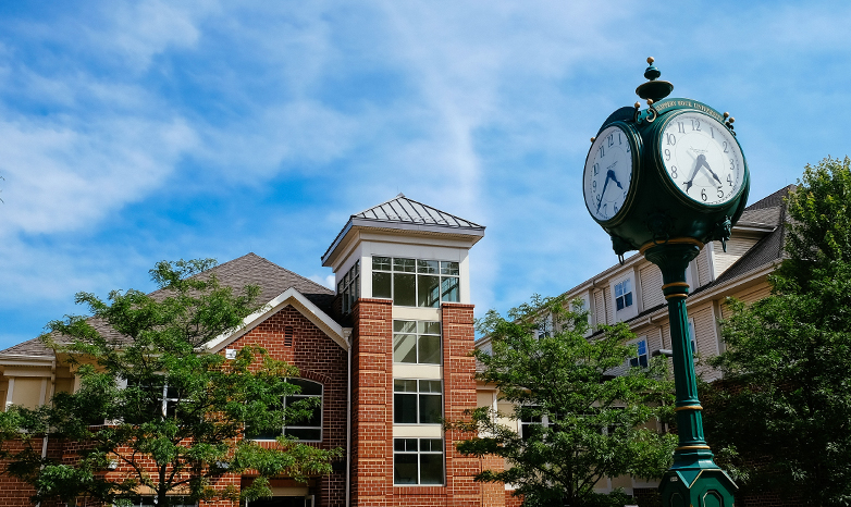 residence hall and clock tower