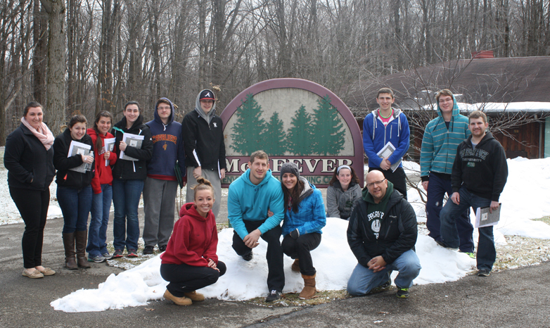John Rindy and students on sophomore retreat
