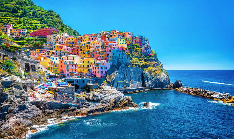 colorful houses on a european beach