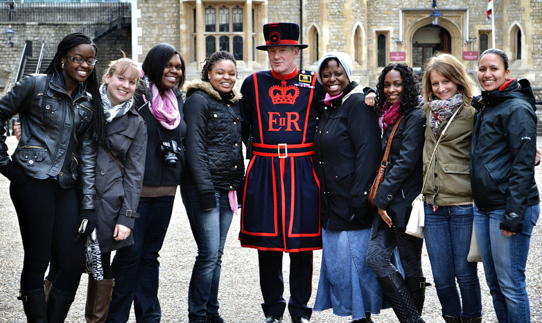 group of Slippery Rock University students in London