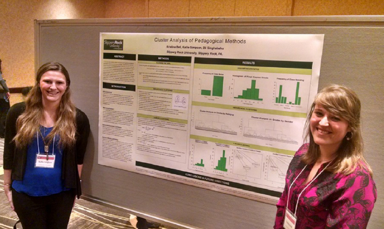 two students at research symposium