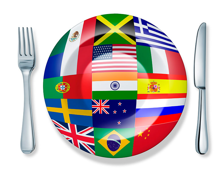 international dinner plate with flags of the nations