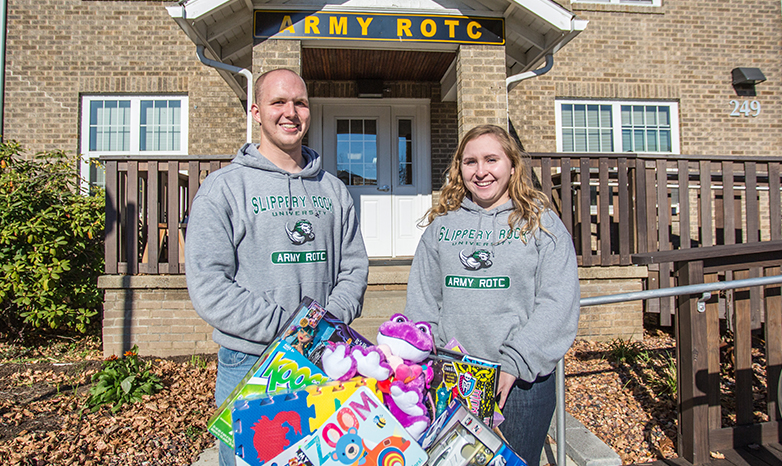 rotc students with toys for tots