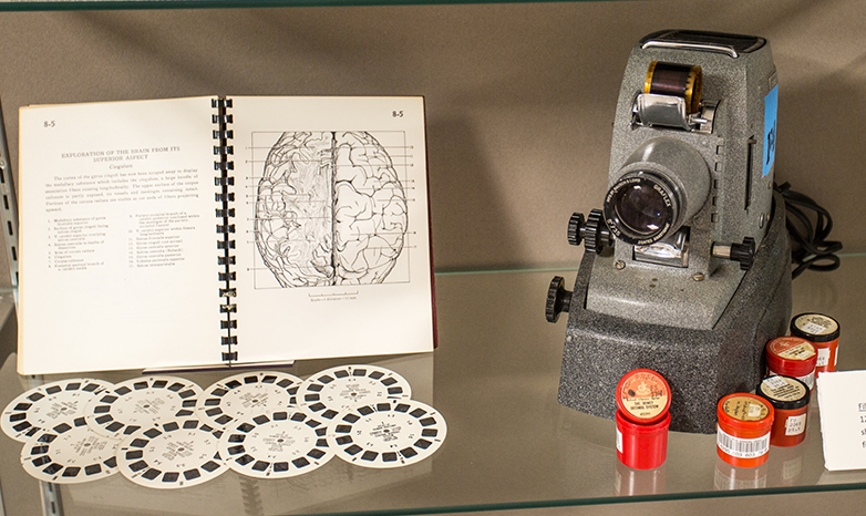 defunct film projector and viewmaster disc slides