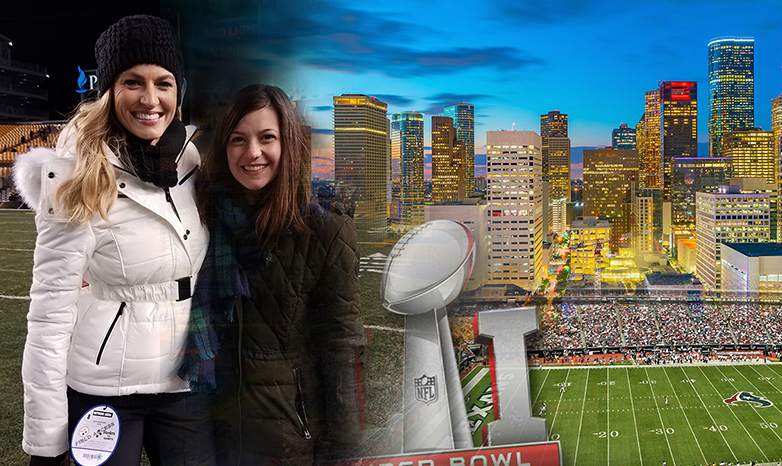 Erin Andrews and Katerina Fissore football game collage image