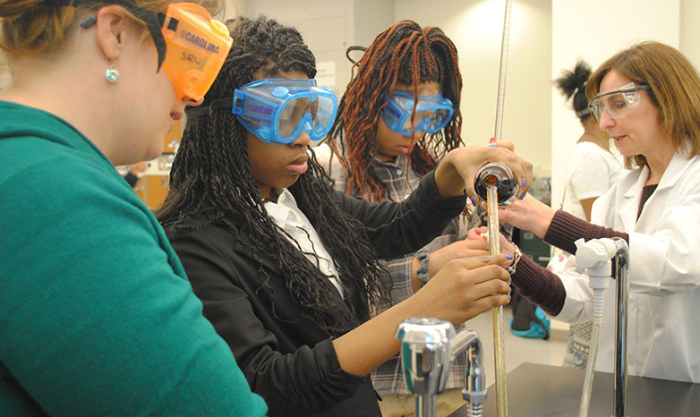 female high school students STEM event at Slippery Rock University