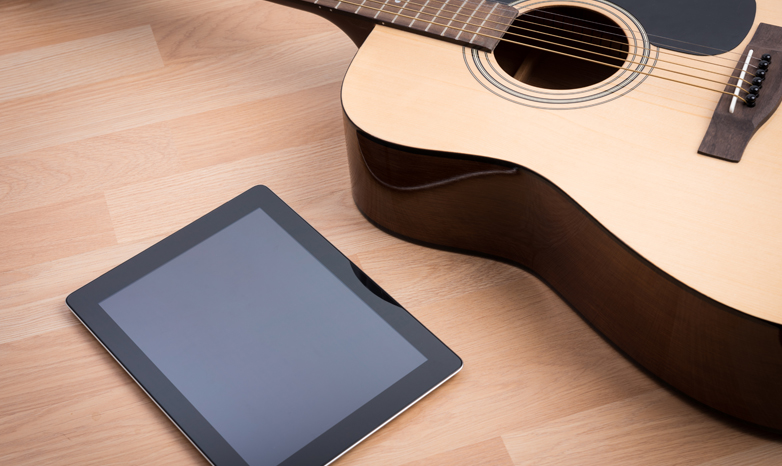 acoustic guitar and iPad