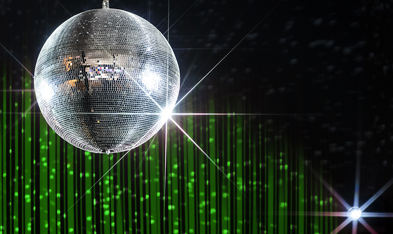 disco ball with green lighting