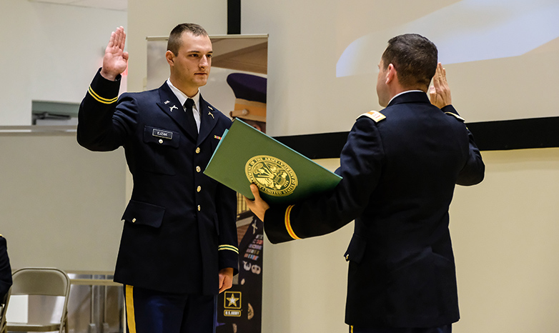 ROTC cadet taking oath of commission