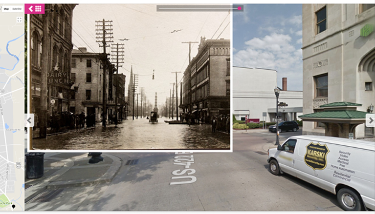 Modern photo overlay of 1933 Lawrence County street
