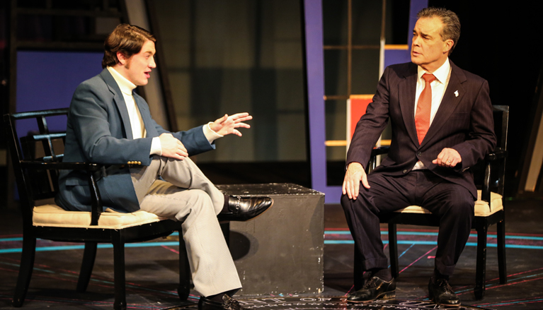 Actors during dress rehearsal for Frost/Nixon