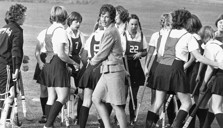 Women's sports teams at Slippery Rock University, such as the field hockey team coached by Patricia Zimmerman, wore uniforms used by the physical education department prior to the enactment of Title IX in 1972.