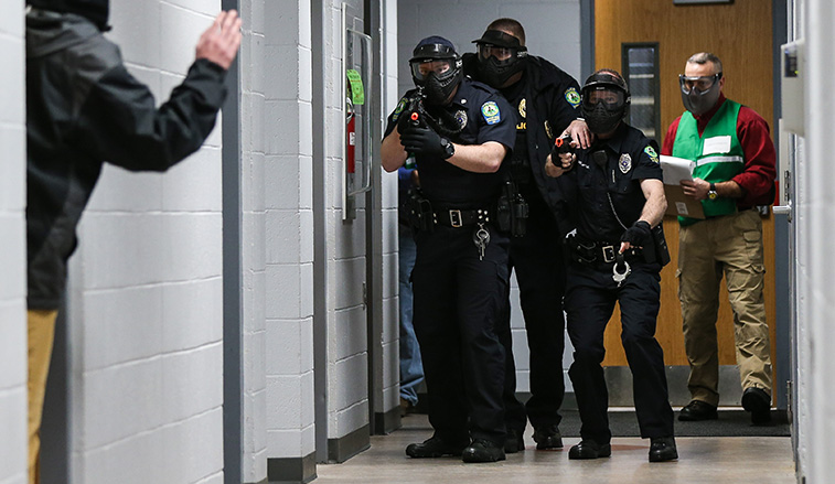 Campus Police during the drill
