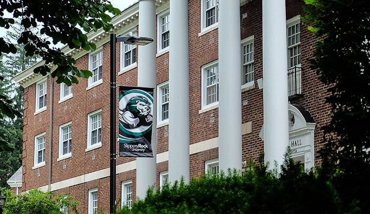 North Hall and an SRU banner