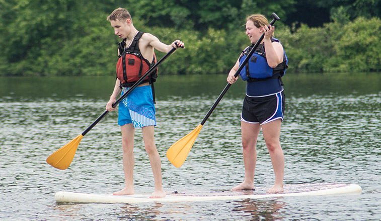 Students on a paddle board