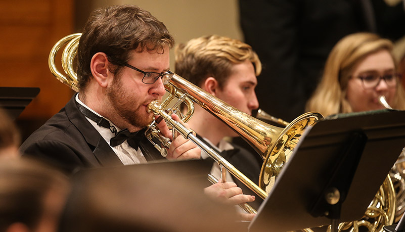 Student playing in the wind ensemble