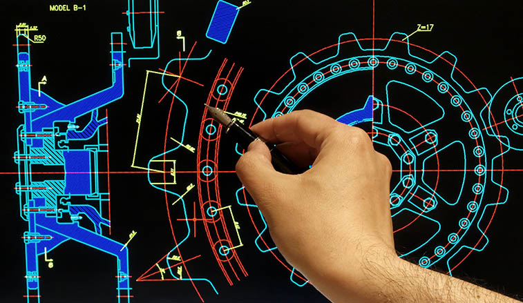 Cad drawing on a computer