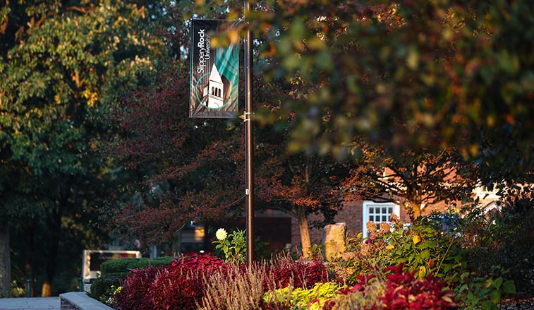 Slippery Rock banner among the fall colors