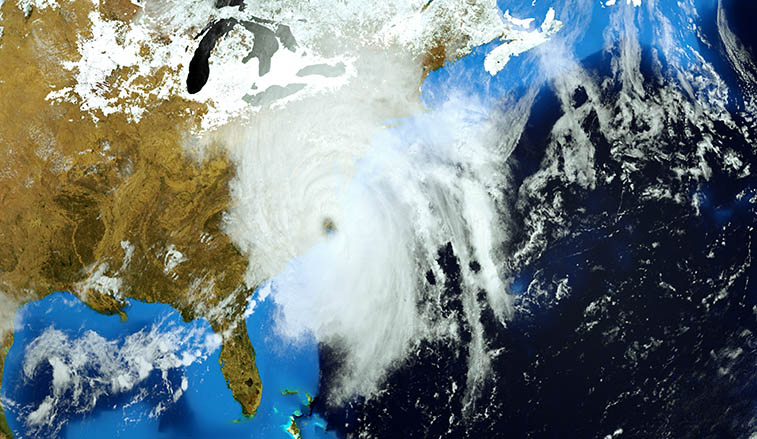 An illustration of Hurricane Florence making landfall on the eatern coast of the United States