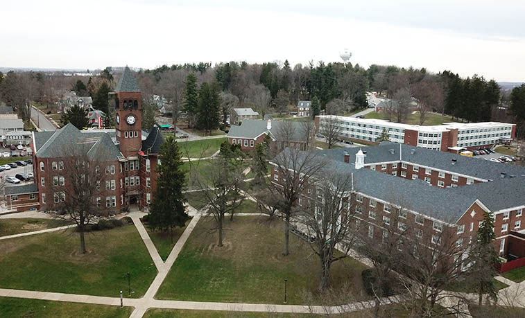 Old Main and North Hall from a drone