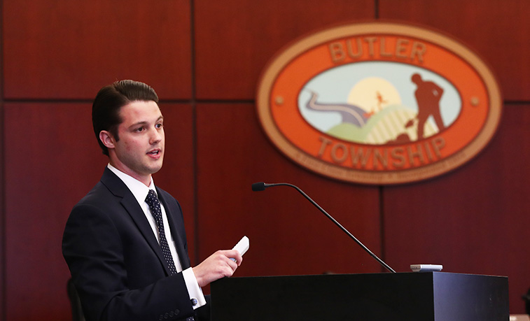 Cory Milkovich presents to the Butler Township supervisors