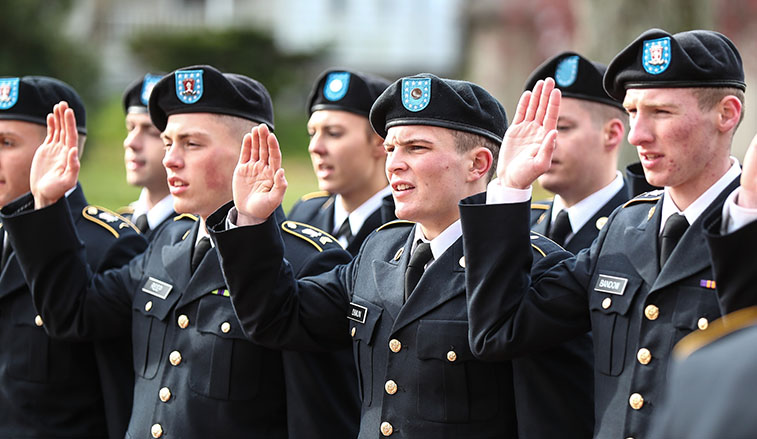 ROTC Recruits swearing their oath