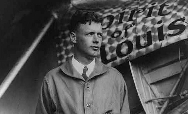 Charles Lindbergh with his plane The Spirit of St Louis