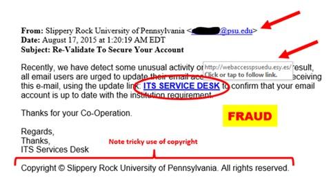 Phishing & Suspicious Email | Slippery Rock University