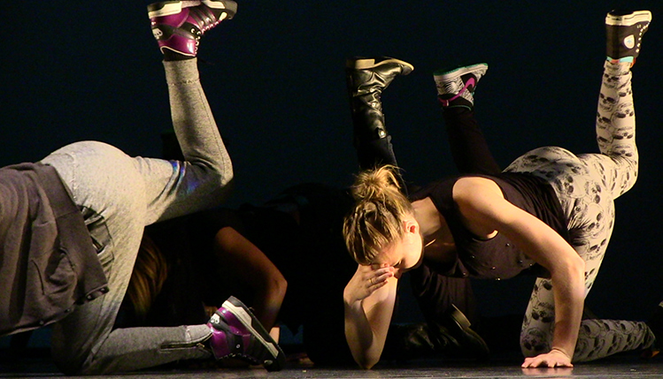 Students perform hip-hop choreography by faculty member Teena Custer