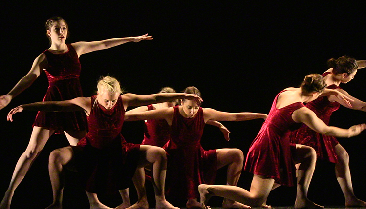 SRU dance majors performs a group dance