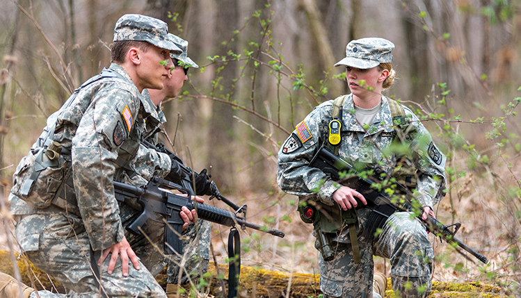 ROTC soldiers on a patrol exercise