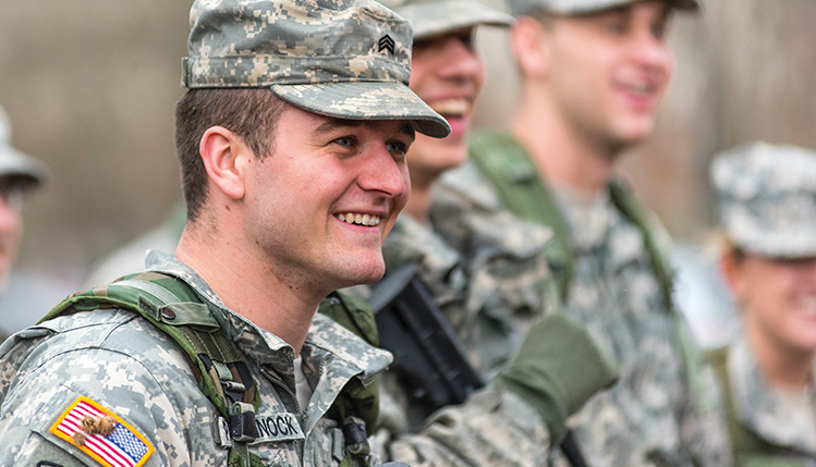 Army reserves smiling