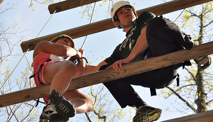 Students on obstacle course