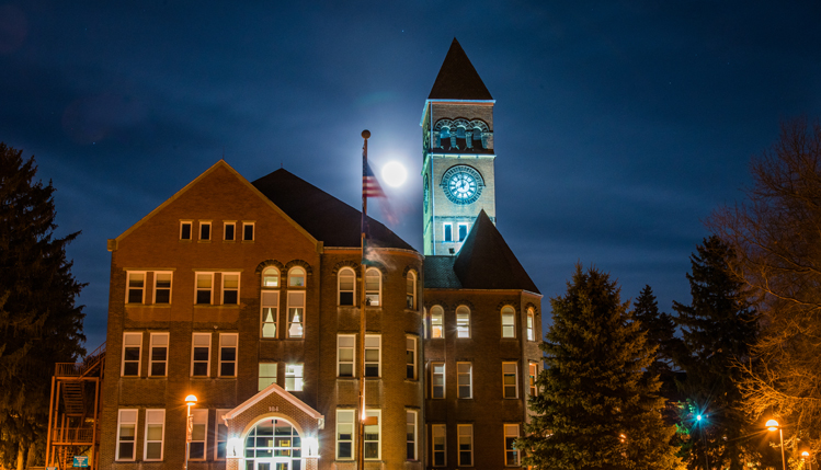 full moon on campus
