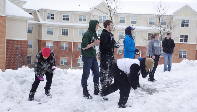 Students playing in snow near road