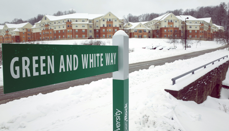 Street sign with snow