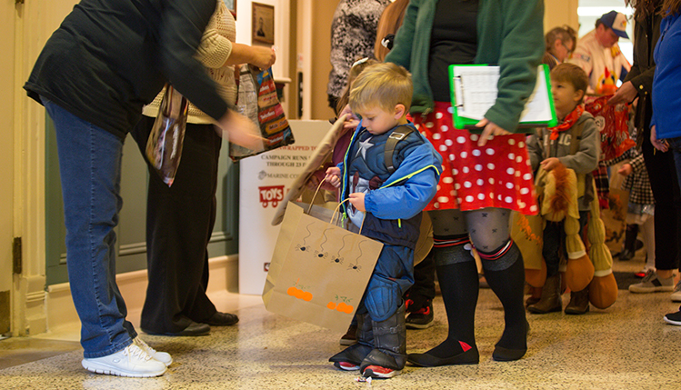 halloween preschoolers trick or treating in old main