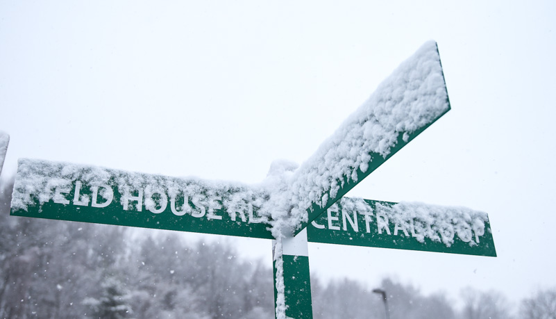 Snow sticking to a sign
