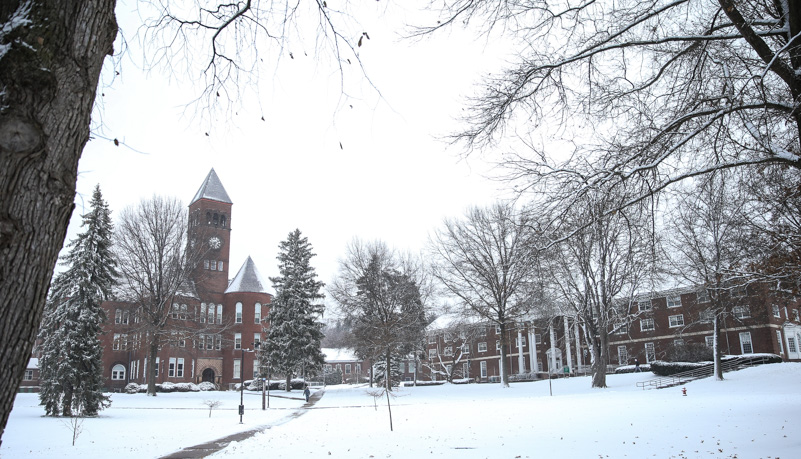 Old Main and North Hall covered by the snow
