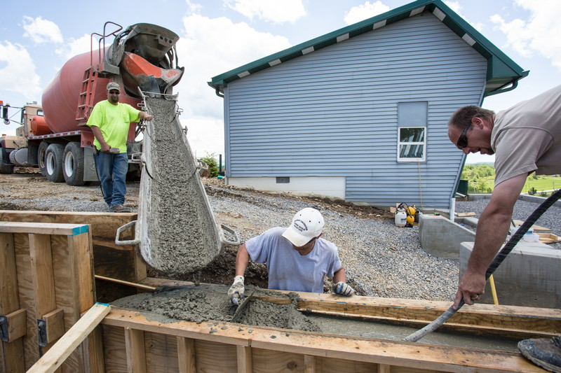 Cement being poured