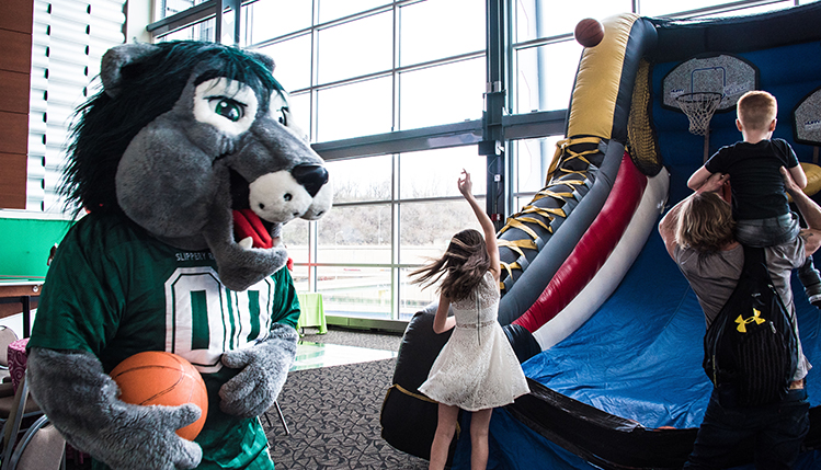rocky the mascot at childrens ball event in pittsburgh