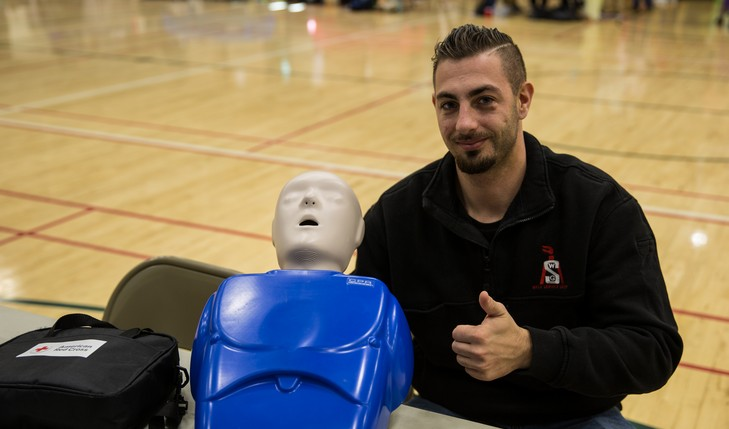 cpr dummy and a thumbs up