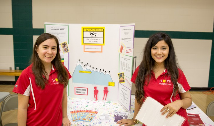 students presenting information