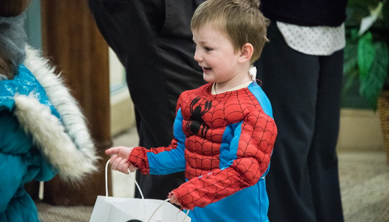 Child dressed as Spider-Man