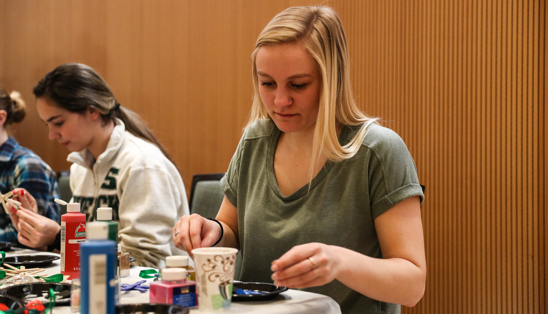 Student making an ornament