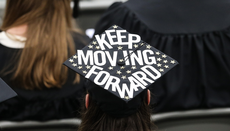 Cap that reads Keep Moving Forward