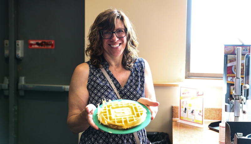 Leah with a Slippery Rock waffle