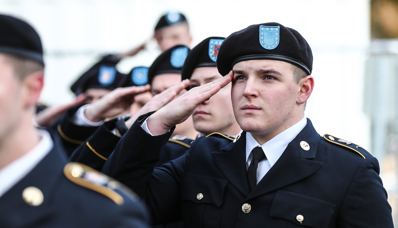 ROTC cadets salute